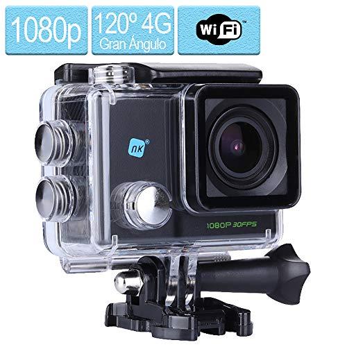 NK Dive Cámara Deportiva subacuática 1080p (Alta Definición), Carcasa Impermeable, 120º 4G, Pantalla LCD , Sensor GC0309, 700mAh, Color Negro (15 Accesorios Múltiples)