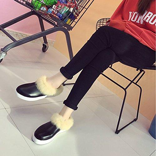 HSXZ Scarpe donna pu Autunno Inverno Comfort Snow Boots stivali tacco piatto Round Toe stivaletti/stivaletti di abbigliamento casual bianco nero Black