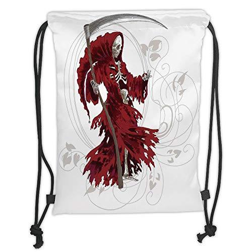 Trsdshorts Gothic,Illustration of Skeleton Grim Reaper Dead Farmer Skull with Hood Danger Evil,Red Beige White Soft Satin,5 Liter Capacity,Adjustable String Closure, (Grim Reaper Make-up)
