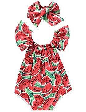 SCFEL Toddler Baby Girl Bat Sleeve U Neck Watermelon Bodysuit Top Outfits Set with Headband