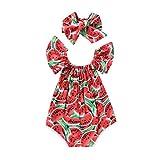 SCFEL Newborn bambina bambino U collo Watermelon Fruit Stampa Ruff la tuta Outfits + fascia 2pcs insiemi dei vestiti (12-24 mesi, Rosso)