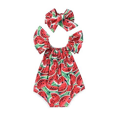 SCFEL Toddler Baby Girl Bat Sleeve U Neck Watermelon Bodysuit Top Outfits Set with Headband (6-12 Monate, Rot)