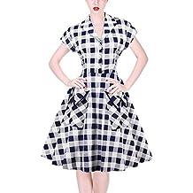 FTVOGUE Abiti Vintage da Donna Plaid Elastico con Cerniera Pinup 1940s 50s  60s Swing da Donna 0ae592c00a3