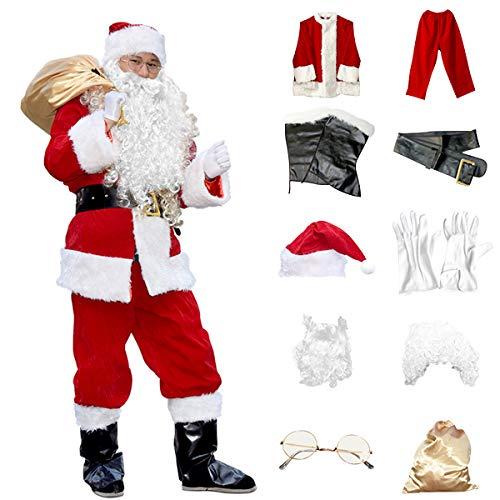 Homelex Herren Deluxe SAMT Weihnachtsmann Anzug Weihnachten Kostüm -