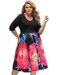 yueyue & FA negras festes Top Flores a de línea Rock Curvy vestido, color negro, tamaño xx-large