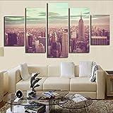 lbonb Pas De Cadre Type d'impression Peinture À l'huile Modulaire Moderne Image Populaire 5 Panneaux New York City HD Cadre Toile Artwork Mur Décoration...