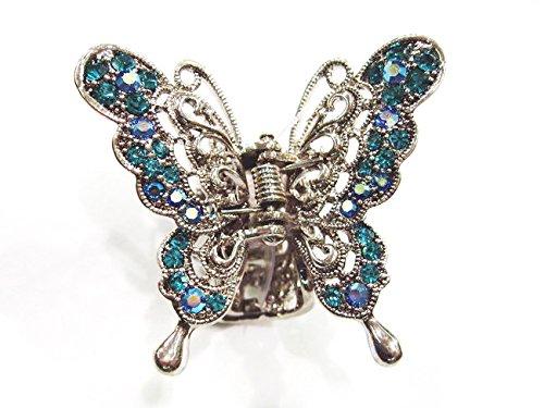 rougecaramel Haarklammer, Schmetterling Metall und Strass–Blau