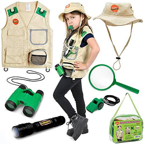 Explorer Kostüm Kinder - Born Toys Backyard Safari Weste und Kostüm mit Explorer-Kit für Outdoor, Natur, Paläontologie, Tierpfleger, Halloween, STEM und wissenschaftliches Ankleiden und Rollenspiel