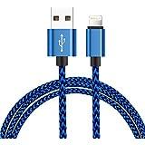 Câble iPhone Lightning, H quadratique en Nylon Série de[Garantie à Vie]-pour iPhone 7 / 7 plus / 6s / 6s plus / 6 / 6 plus / SE / 5s / 5c / 5, iPad 2 3 4 Mini, iPad Pro Air & more - 1 m / 3.3ft Blue