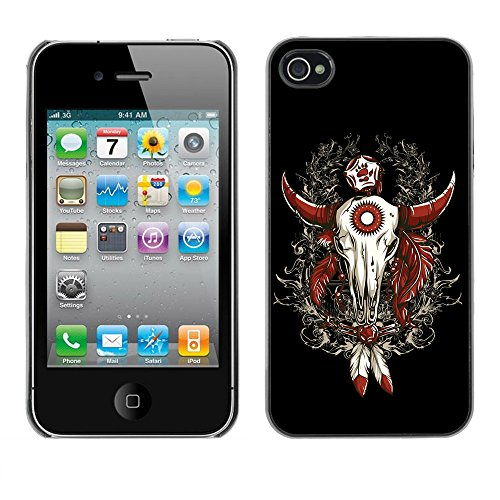 RAJCASE Premium Slim Polycarbonate Aluminium Cassa del telefono Custodia Case Bandiera Cover Armor / Cool Western Buffalo Skull Dreamcatcher / Apple Iphone 4 - Buffalo Scatti
