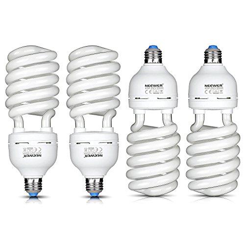 Neewer® 45W 220V 5500K tri-phosphor spirale lampadina Daylight Balanced E27Presa per Studio Foto e Video illuminazione (Confezione da 4) - Video Balanced