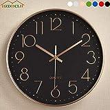 HZDHCLH Ø30cm Horloge Murale silencieuse Pendule décorative pour Cuisine Salon Chiffre Arabe Blanc (Noir-Or Rose)