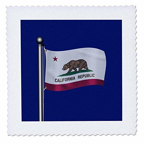 3dRose Flagge des Staates Kalifornien Waving auf einem dunklen blau Hintergrund, Quilt, Platz, 6von 6(QS 172012_ 2) -