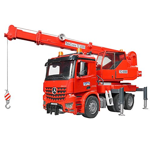 (bruder 03670 MB Arocs Kran-LKW mit Light and Sound Modul, rot)