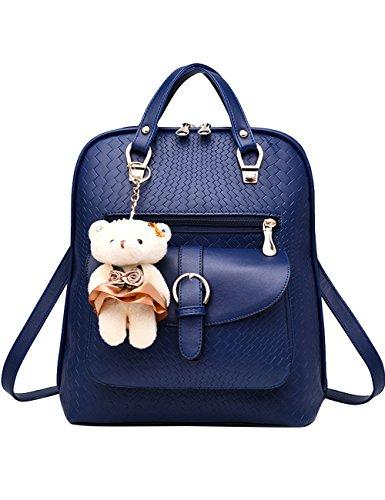 Menschwear PU Zaino Satchel Daypack sacchetto di scuola Nero Diamante Blu
