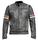 Herren Vintage Motorrad Cafe Racer Retro Moto Distressed Lederjacke (L)