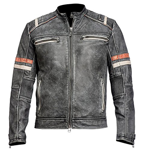 *Herren Vintage Motorrad Cafe Racer Retro Moto Distressed Lederjacke (XL)*