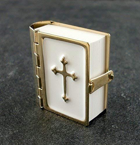 Puppenhaus Bibel Metall Bindung Seiten Gedruckt 1:12 Miniatur Kirche Zubehör