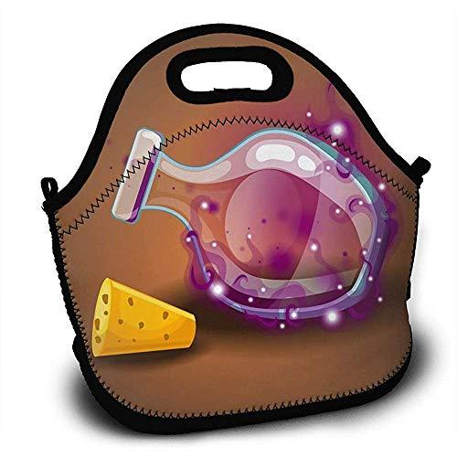 Picknicktaschen,Verstellbarer Rucksack,Neopren Lunchpakete,Große Lunchtaschen,Leere Flaschen Tränke Mit Magischer Rauch-Brotdose-Handtaschen-Schule,Arbeit,Picknick,Reise,Im Freien