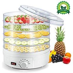 Déshydrateur Alimentaire, Machine électrique déshydrateur de Nourriture de la Marque, 5 Plateaux empilables, Thermostat Réglable 35-70℃, Déshydrateur de légume de Fruit, Sans BPA, 350W