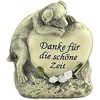MW Handel Tiergrabstein Grabschmuck Hund Gedenkstein Grabdeko Hund Liegend auf Herzstein