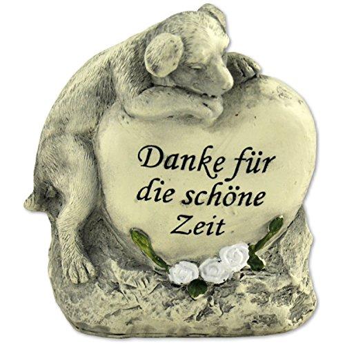 """Tiergrabstein Grabschmuck Hund Gedenkstein Grabdeko """"Hund liegend auf Herzstein"""""""