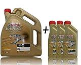 3x 1 L + 5 L = 8 Liter Castrol EDGE Titanium FST™ Turbo Diesel 5W-40 Motor-Öl Motoren-Öl inkl. Castrol Ölwechsel-Anhänger; Spezifikationen/Freigaben: ACEA C3; API SN/CF; VW 502 00/ 505 00 / 505 01; BM