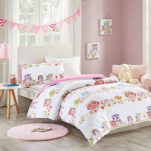 MIZONE KIDS Owl 2-tlg Kinderbettwäsche Set mit Eule 100% Baumwolle Bettgarnitur Mädchen Jugendliche Teenager Bettwäsche Einzelbett weiß rosa bunt, 135x200cm+50x75cm (Eule Bettwäsche Für Mädchen Schlafzimmer)