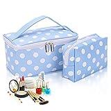 2 pcs maquillaje bolsas, HOYOFO lunares Make Up Bolsa impermeable bolsa de cosméticos neceser de viaje con asa para las mujeres