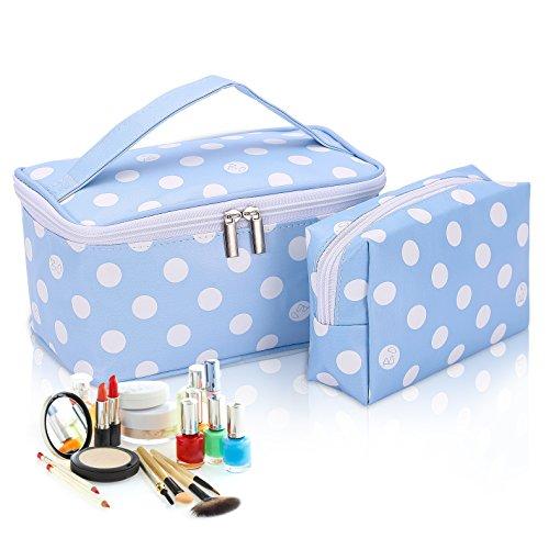 2PCS Make-up Taschen, hoyofo Dots Make Up Tasche wasserdicht Kosmetik Tasche für Travel Wash Tasche mit Griff für Frauen (Mit Tasche Reißverschluss Innen)