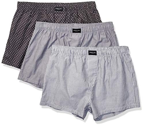 Mini Stripe Boxer (Kenneth Cole New York Herren Cotton Woven Boxer Underwear, Multipack Boxershorts, Mini Plaid, Grey Chambray, Black Kenneth Cole Stripes - 3 Pack, X-Large)