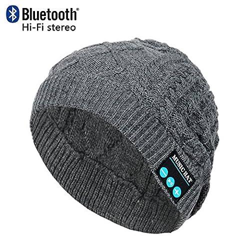 CoCo Fashion drahtlose Bluetooth-Mütze mit Musik phone Freisprech -Stereo-Kopfhörer-Kopfhörer-Lautsprecher-Mikrofon für Fitness Outdoor Sport Wandern Weihnachtsgeschenke (Einheitsgröße, MZ019_ (Earflap Knit Cap)