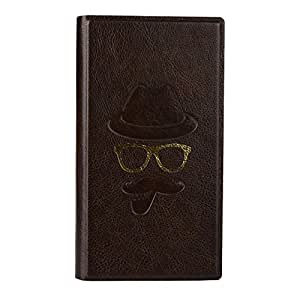 Jo Jo Cover Moustache Series Leather Pouch Flip Case For Huawei G610s Dark Brown