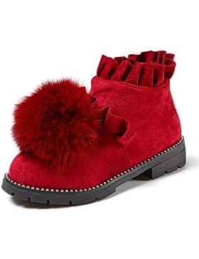 HGTYU-Otoño e Invierno chicas nuevas zapatillas de algodón además de terciopelo botas de cuero caliente estudiantes...