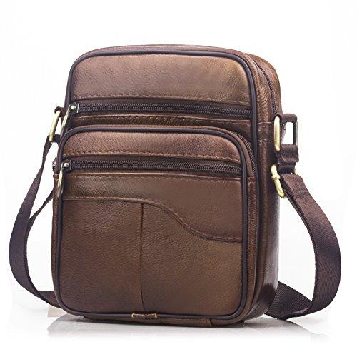 Spaher uomo borse a spalla borsa a tracolla in pelle cuoio borsa di affari del messaggero business crossbody borsa da viaggio tote organizer portatutto della zaino viaggio marrone