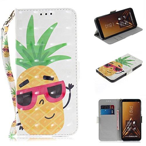 Nadoli Galaxy A6 Plus 2018 Lederhülle,3D Standfunktion Pu Leder Flip Brieftasche Handyhülle Ananas Wallet Tasche Etui für Samsung Galaxy A6 Plus 2018,Ananas