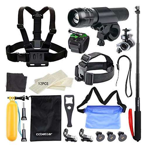 Accessories for Gopro,ccbetter 27 in 1 Sports Camera Accessories with Bike Torch + Waterproof Bag for GoPro Hero 4 Session Hero 1 2 3 4 (Black)