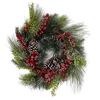 Olsen & Smith 36cm Guirnalda Decorativa Tradicional de Navidad para Interiores con Adorno de Oro, Madera picada y decoración de piña