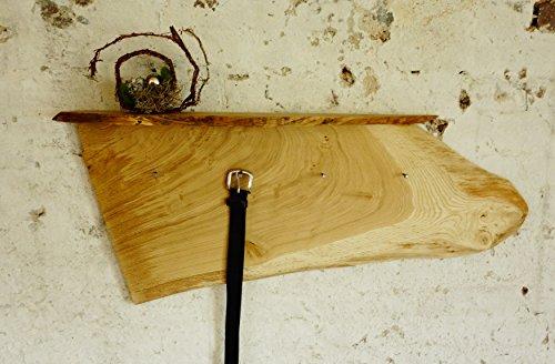 Garderobe rustikal Rindenbrett Baumscheibe Eiche massiv Wandgarderobe Hufnägel als Haken Breite 100cm Unikat Handmade in Germany