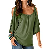 Uniboutique Women's Cold Shoulder Ruffle Sleeve Summer Loose Fit Tunic Top Shirt Blouse Army Green L