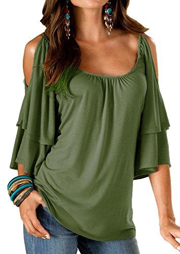Dromild camicetta da spalla a maniche lunghe da donna maniche lunghe elasticizzate top verde militare s