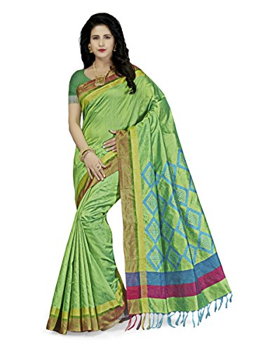 Rani Saahiba Women's Art Dupion Silk Zari Border Saree ( WVS3_Green )