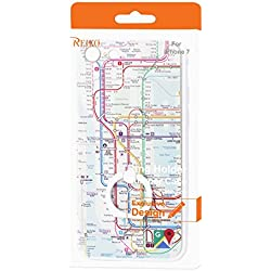 Reiko Subway Map Design Case With 360 Degree Rotating Ring Stand Holder for Apple iPhone 7 - Mix