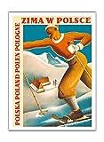 Zima w Polsce (invierno en Polonia)-Polska (Polonia)-polen (Polonia)-Pologne (Polonia)-Vintage World Travel Poster por Mieczys _ AW Róza _ esquí & R. WY _ puede c.1935-Fine Art Print, 12' x 16' Premium Giclée