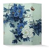 Fine Asianliving – Paravent - Raumteiler – Sichtschutz - Trennwand –Faltbar - Spanische Wand – Leinwand - Artprint – Canvas – Doppelseitig – Bedruckte Leinwand - 4 Fach (180 x 160 cm) - 153