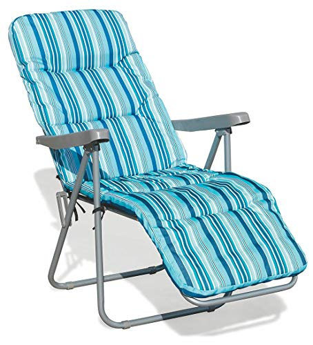 Soriani sedia sdraio reclinabile pieghevole in poliestere madrid azzurra