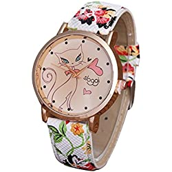 jamicy® Cute Cartoon Diseño de gato reloj Fashion Women cute casual cuarzo reloj de pulsera