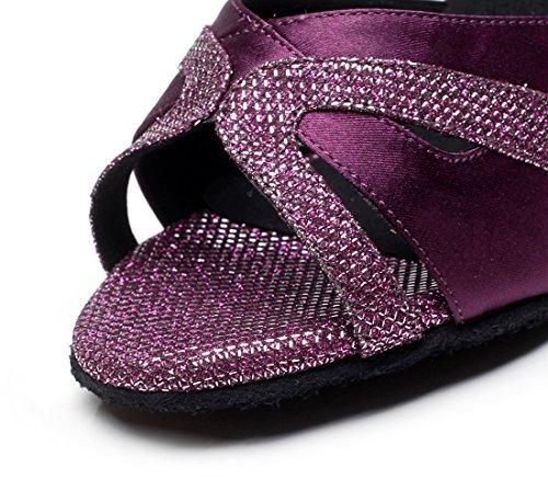 Minitoo - Scarpe da donna in raso con brillantini, con cinturini incrociati, per ballo latino-americano Purple