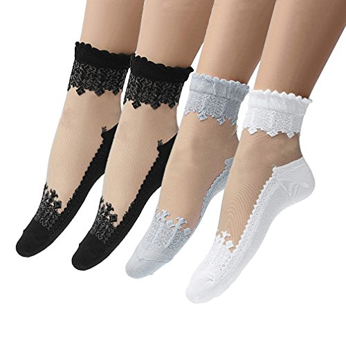Hikong 4 Paia Calze a Rete Donna Calzini Corte Pizzo Merletto Sexy Elastiche Fishnet Socks Collant Lingerie Sexy Nero (Stile 5)