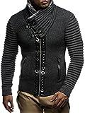 LEIF NELSON Herren Strickjacke Jacke Pullover Hoodie mit Nieten Sweatshirt Biker-Style Gesteppt LN5165; Größe L, Anthrazit-Schwarz